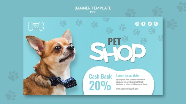 Modelo de banner horizontal para pet shop
