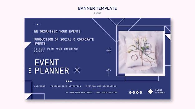 Modelo de banner horizontal para planejamento de eventos sociais e corporativos