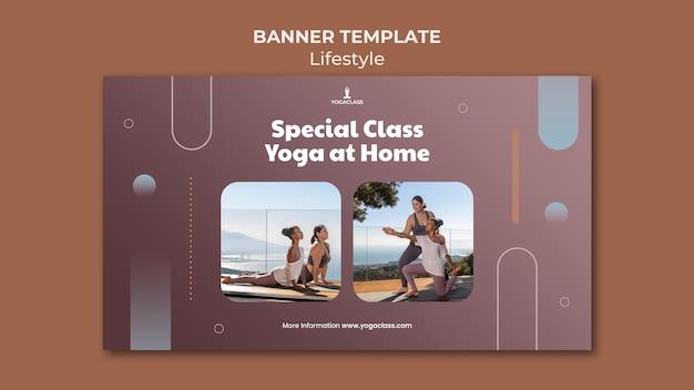 Modelo de banner horizontal para prática e exercícios de ioga