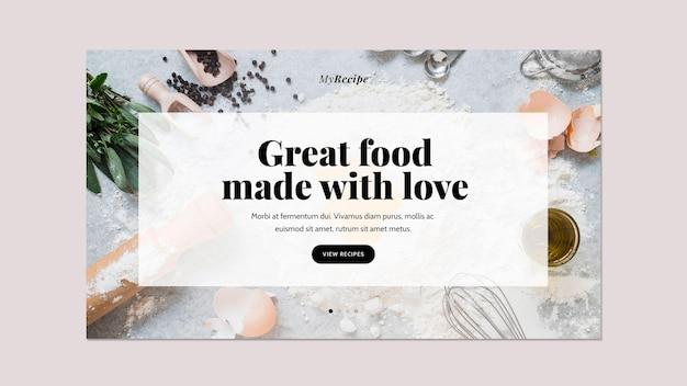 Modelo de banner horizontal para prato de comida