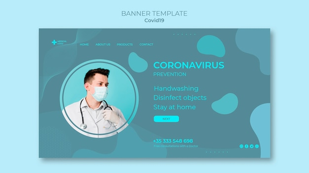 Modelo de banner horizontal para prevenção de coronavírus