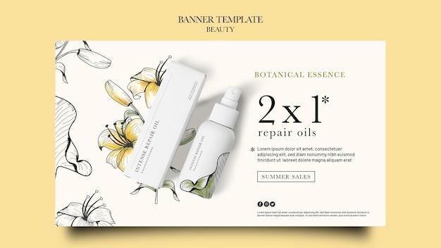 Modelo de banner horizontal para produtos de beleza com flores desenhadas à mão