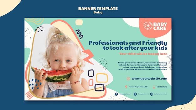 Modelo de banner horizontal para profissionais de cuidados com bebês