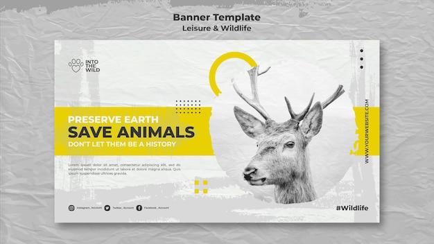 Modelo de banner horizontal para proteção da vida selvagem e meio ambiente