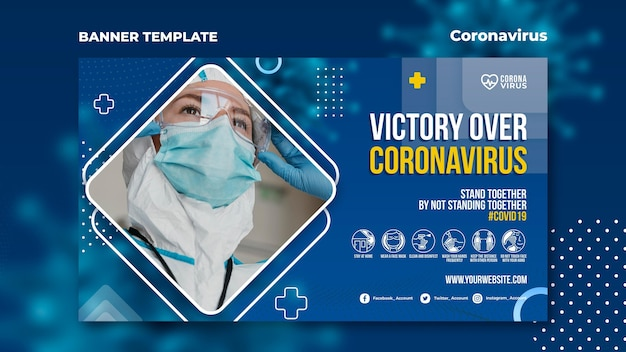 Modelo de banner horizontal para reconhecimento de coronavírus