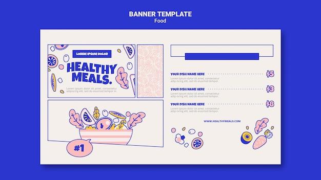 Modelo de banner horizontal para refeições saudáveis