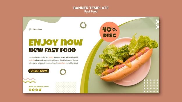 Modelo de banner horizontal para restaurante de cachorro-quente