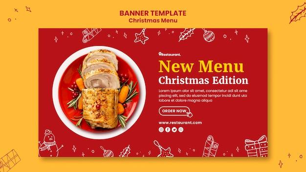 Modelo de banner horizontal para restaurante de comida de natal