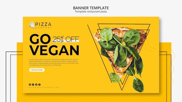 Modelo de banner horizontal para restaurante de pizza