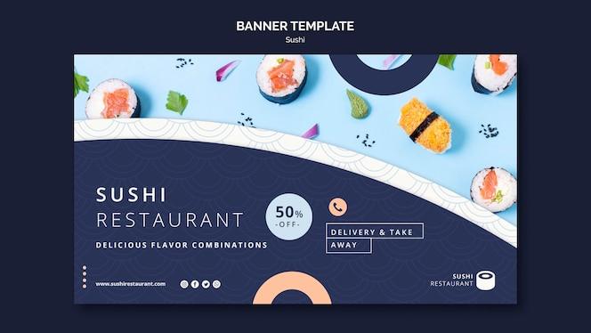 Modelo de banner horizontal para restaurante de sushi
