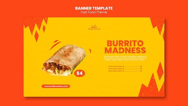Modelo de banner horizontal para restaurante fast food