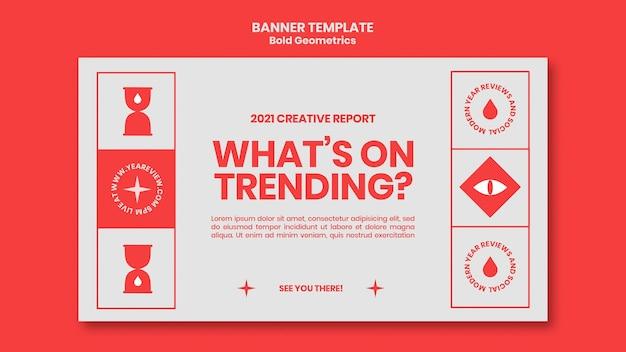 Modelo de banner horizontal para revisão e tendências de ano novo