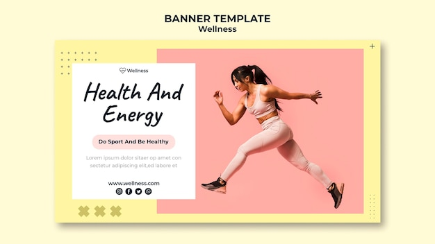Modelo de banner horizontal para saúde e bem-estar com mulher fazendo exercícios