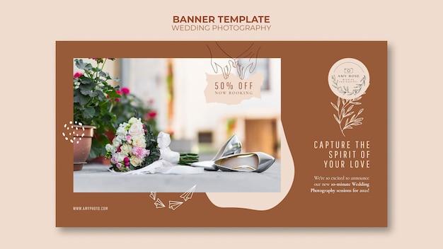 Modelo de banner horizontal para serviço de fotografia de casamento