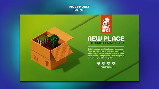 Modelo de banner horizontal para serviços de realocação de residências