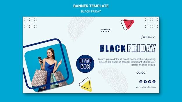 Modelo de banner horizontal para sexta-feira negra com mulher e triângulos