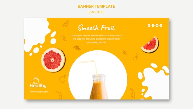 Modelo de banner horizontal para smoothies de frutas saudáveis