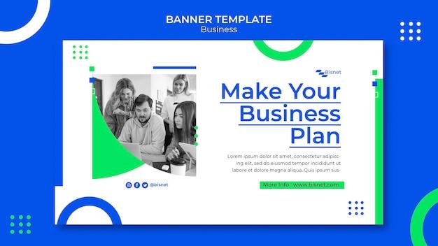 Modelo de banner horizontal para solução de negócios com foto monocromática