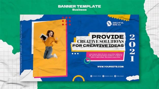 Modelo de banner horizontal para soluções de negócios criativos