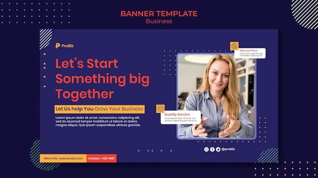 Modelo de banner horizontal para soluções de negócios profissionais