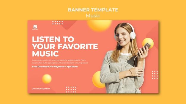 Modelo de banner horizontal para streaming de música online com mulher usando fones de ouvido