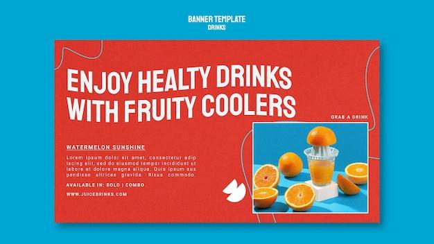 Modelo de banner horizontal para suco de fruta saudável