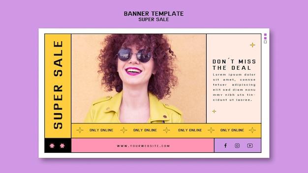 Modelo de banner horizontal para super venda de óculos de sol