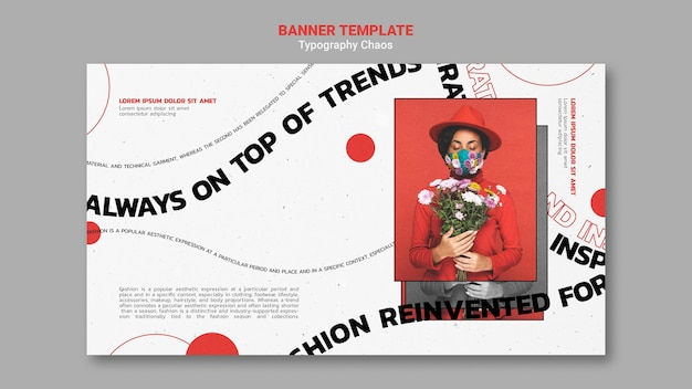 Modelo de banner horizontal para tendências da moda com mulher usando máscara facial