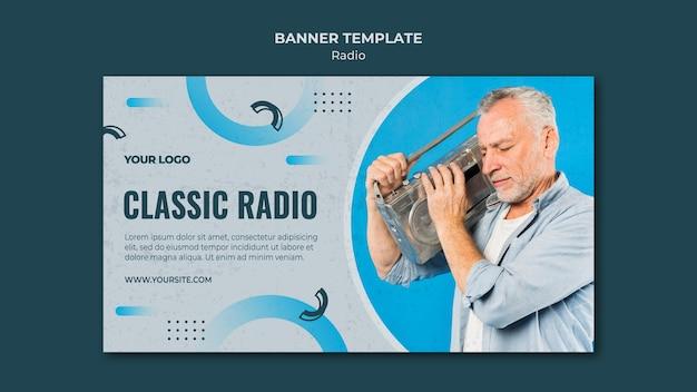 Modelo de banner horizontal para transmissão de rádio