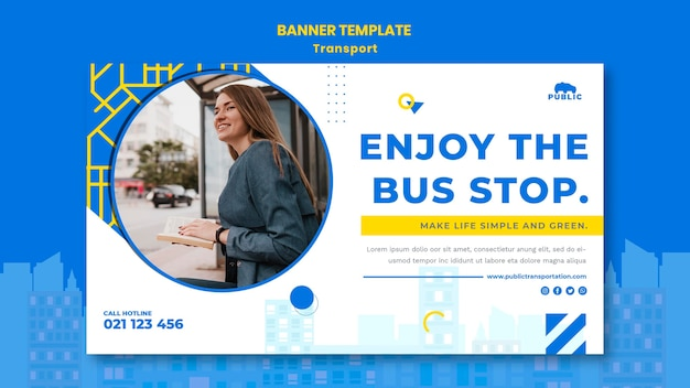 Modelo de banner horizontal para transporte público com passageiro feminino