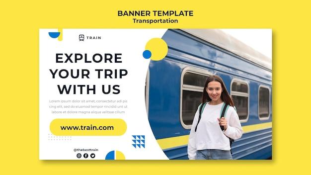 Modelo de banner horizontal para transporte público de trem com mulher
