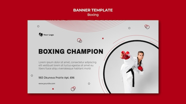 Modelo de banner horizontal para treinamento de boxe
