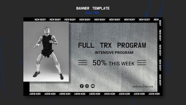 Modelo de banner horizontal para treino trx com atleta masculino