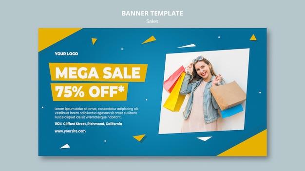 Modelo de banner horizontal para venda no varejo