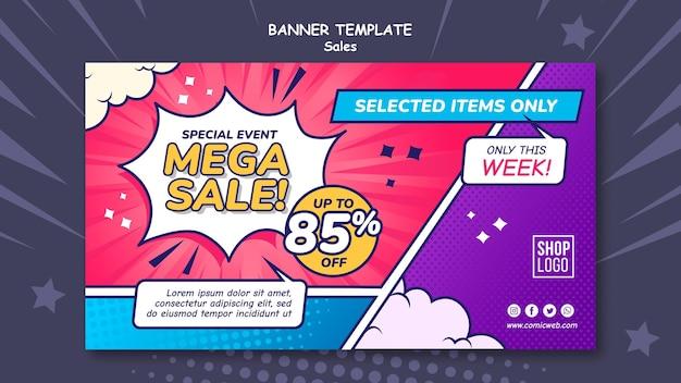 Modelo de banner horizontal para vendas em estilo de quadrinhos