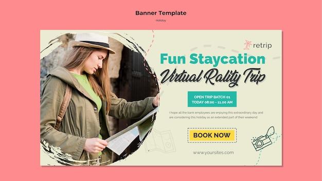 Modelo de banner horizontal para viagem de férias de realidade virtual