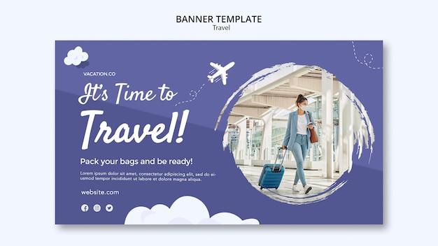 Modelo de banner horizontal para viagens com mulher usando máscara facial