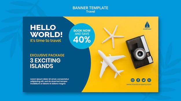 Modelo de banner horizontal para viagens de férias
