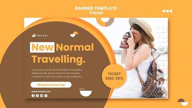 Modelo de banner horizontal para viajar com mulher