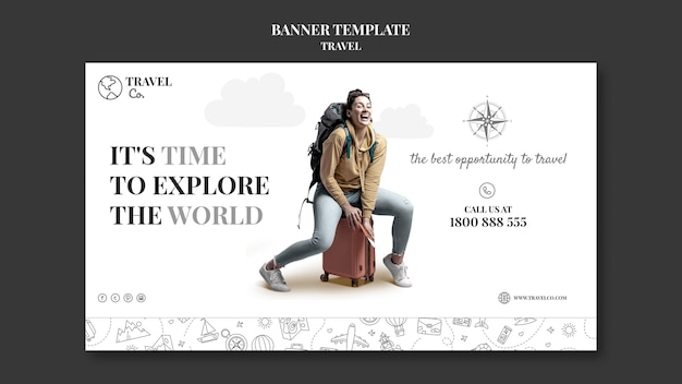 Modelo de banner horizontal para viajar pelo mundo
