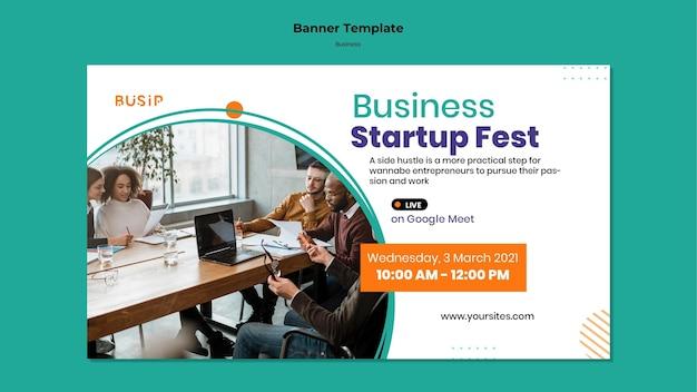 Modelo de banner horizontal para webinar e início de negócios