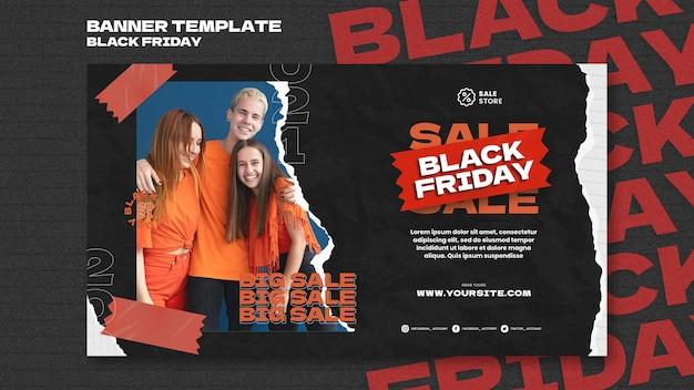 Modelo de banner horizontal preto de venda sexta-feira
