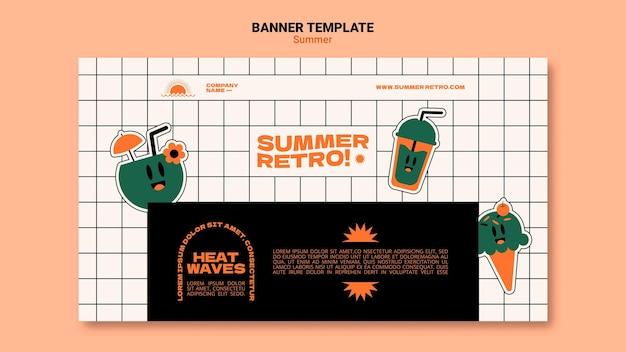 Modelo de banner horizontal retrô de verão