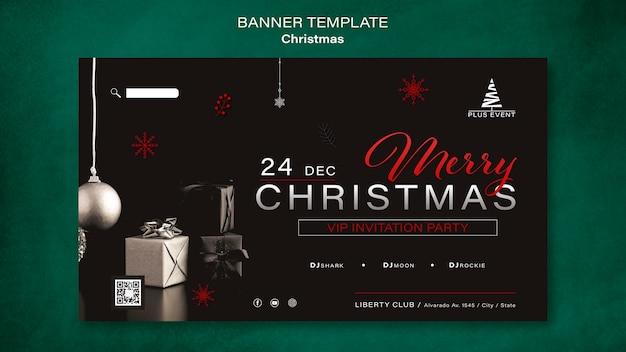 Modelo de banner horizontal tradicional de natal