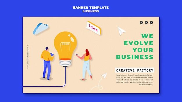 Modelo de banner ilustrado de negócios