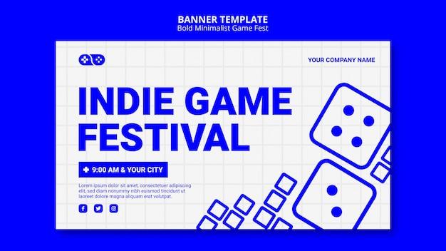 Modelo de banner indie de videogame jam fest