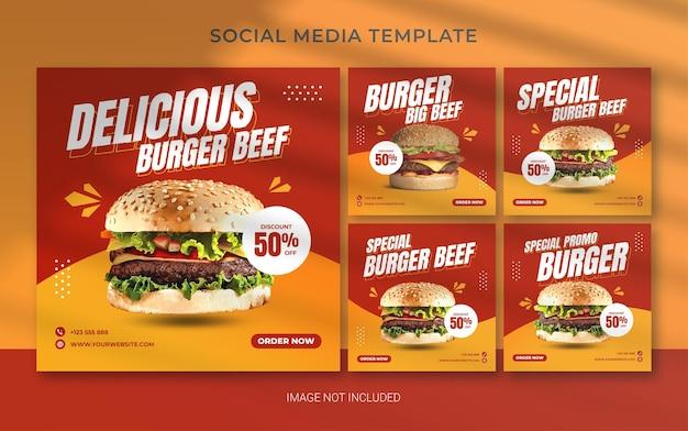 Modelo de banner instagram quadrado de fast food de hambúrguer