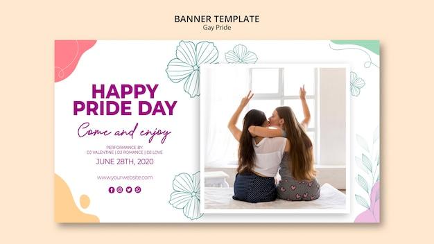 Modelo de banner minimalista de orgulho gay