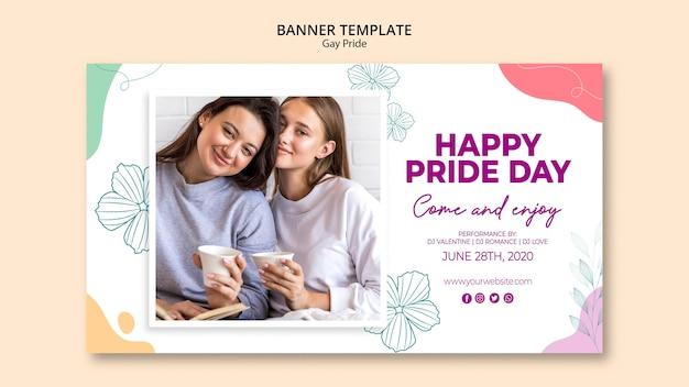 Modelo de banner minimalista orgulho gay