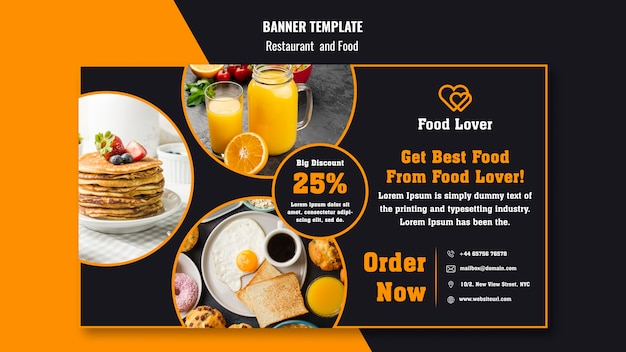 Modelo de banner moderno para restaurante de café da manhã
